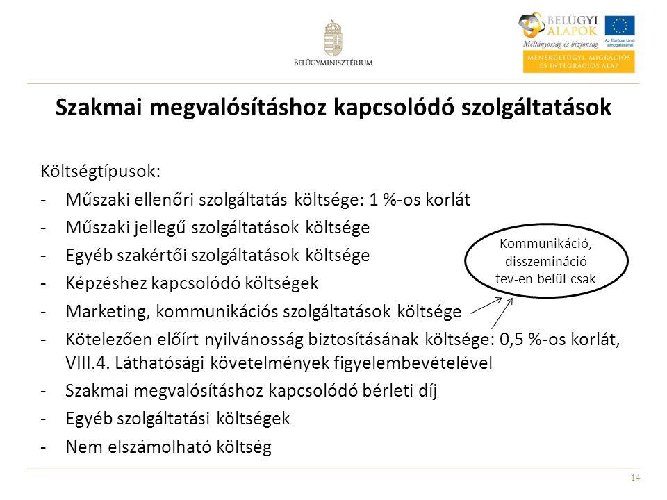 14 Szakmai megvalósításhoz kapcsolódó szolgáltatások Költségtípusok: -Műszaki ellenőri szolgáltatás költsége: 1 %-os korlát -Műszaki jellegű szolgáltatások költsége -Egyéb szakértői szolgáltatások költsége -Képzéshez kapcsolódó költségek -Marketing, kommunikációs szolgáltatások költsége -Kötelezően előírt nyilvánosság biztosításának költsége: 0,5 %-os korlát, VIII.4.