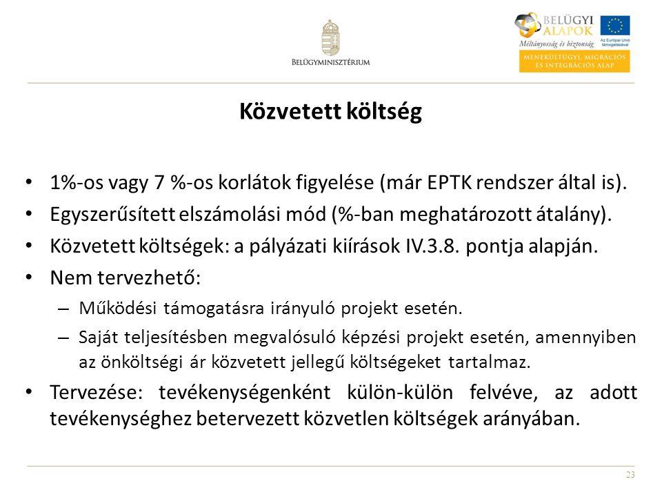 23 Közvetett költség 1%-os vagy 7 %-os korlátok figyelése (már EPTK rendszer által is).