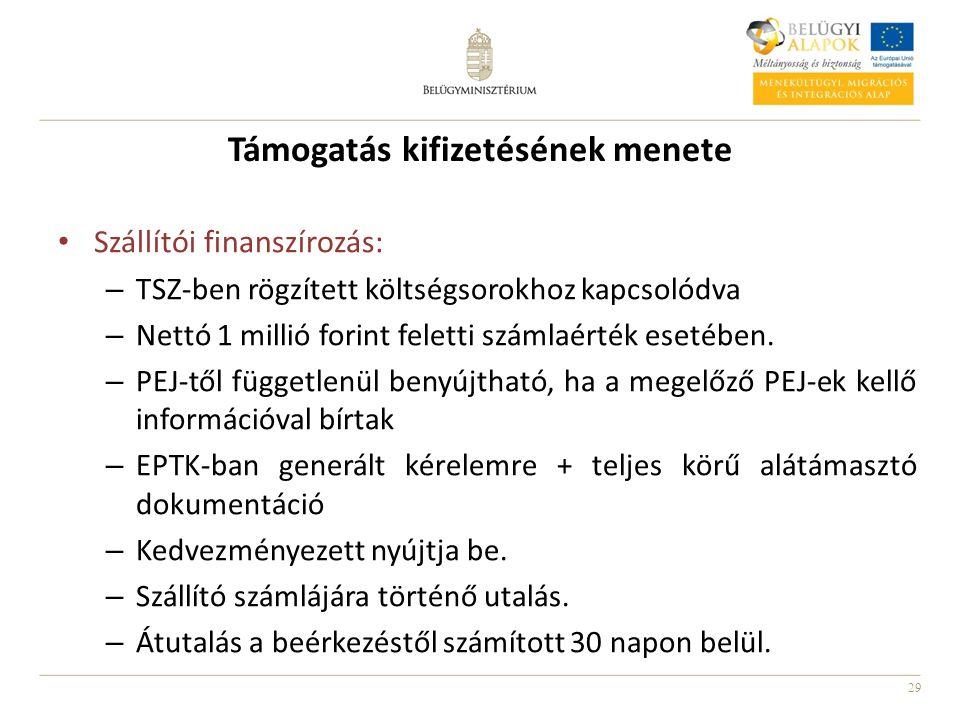 29 Támogatás kifizetésének menete Szállítói finanszírozás: – TSZ-ben rögzített költségsorokhoz kapcsolódva – Nettó 1 millió forint feletti számlaérték esetében.