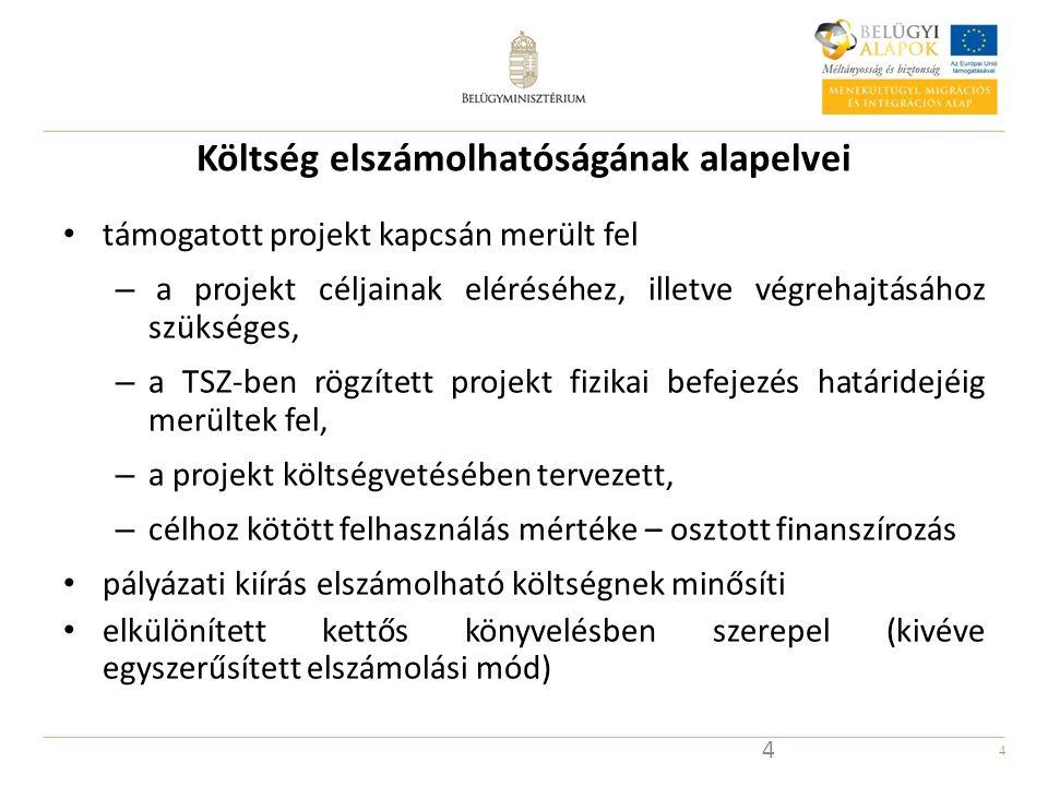 4 Költség elszámolhatóságának alapelvei támogatott projekt kapcsán merült fel – a projekt céljainak eléréséhez, illetve végrehajtásához szükséges, – a TSZ-ben rögzített projekt fizikai befejezés határidejéig merültek fel, – a projekt költségvetésében tervezett, – célhoz kötött felhasználás mértéke – osztott finanszírozás pályázati kiírás elszámolható költségnek minősíti elkülönített kettős könyvelésben szerepel (kivéve egyszerűsített elszámolási mód) 4