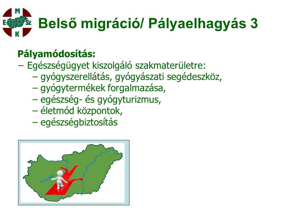Belső migráció/ Pályaelhagyás 3 Pályamódosítás: − Egészségügyet kiszolgáló szakmaterületre: −gyógyszerellátás, gyógyászati segédeszköz, −gyógytermékek forgalmazása, −egészség- és gyógyturizmus, −életmód központok, −egészségbiztosítás