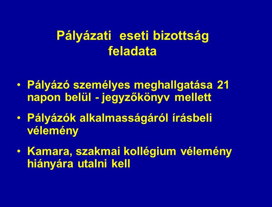 Pályázati eseti bizottság feladata Pályázó személyes meghallgatása 21 napon belül - jegyzőkönyv mellett Pályázók alkalmasságáról írásbeli vélemény Kamara, szakmai kollégium vélemény hiányára utalni kell