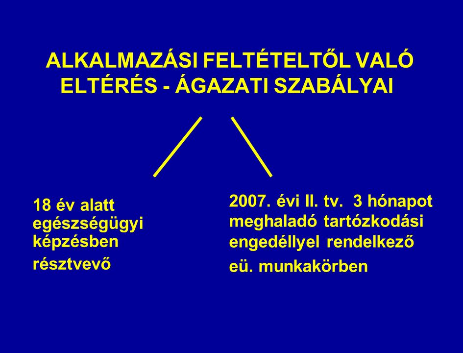 ALKALMAZÁSI FELTÉTELTŐL VALÓ ELTÉRÉS - ÁGAZATI SZABÁLYAI 18 év alatt egészségügyi képzésben résztvevő 2007.