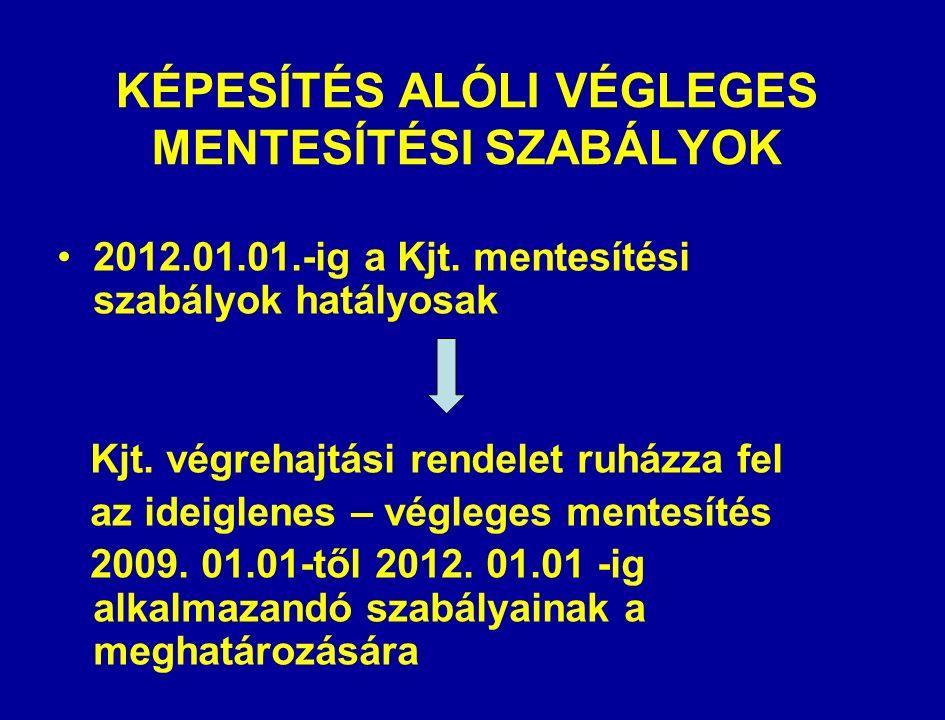 KÉPESÍTÉS ALÓLI VÉGLEGES MENTESÍTÉSI SZABÁLYOK 2012.01.01.-ig a Kjt.