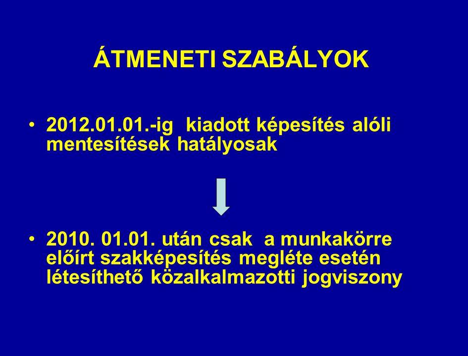 ÁTMENETI SZABÁLYOK 2012.01.01.-ig kiadott képesítés alóli mentesítések hatályosak 2010.