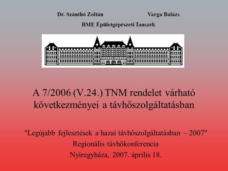 A 7/2006 (V.24.) TNM rendelet várható következményei a távhőszolgáltatásban Legújabb fejlesztések a hazai távhőszolgáltatásban – 2007 Regionális távhőkonferencia Nyíregyháza, 2007.