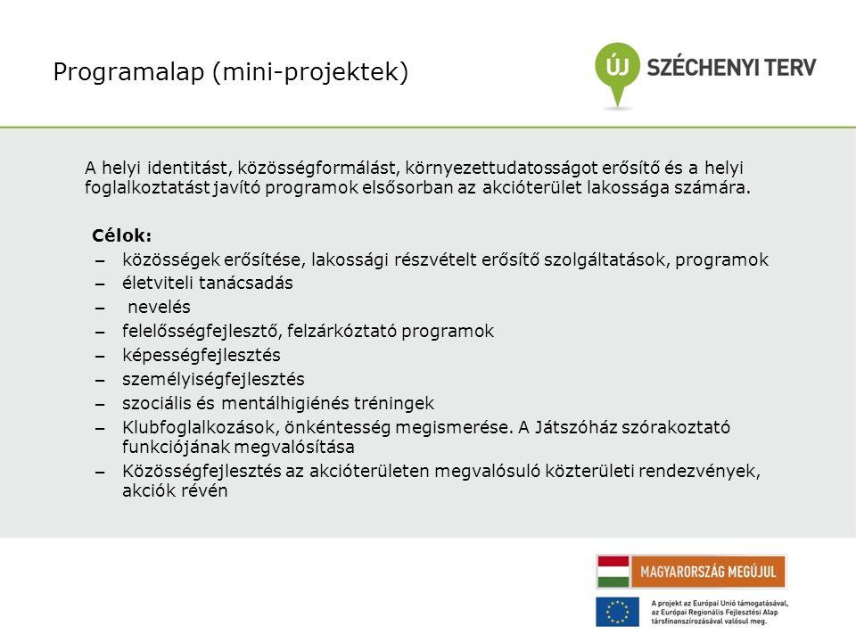 Programalap (mini-projektek) A helyi identitást, közösségformálást, környezettudatosságot erősítő és a helyi foglalkoztatást javító programok elsősorban az akcióterület lakossága számára.