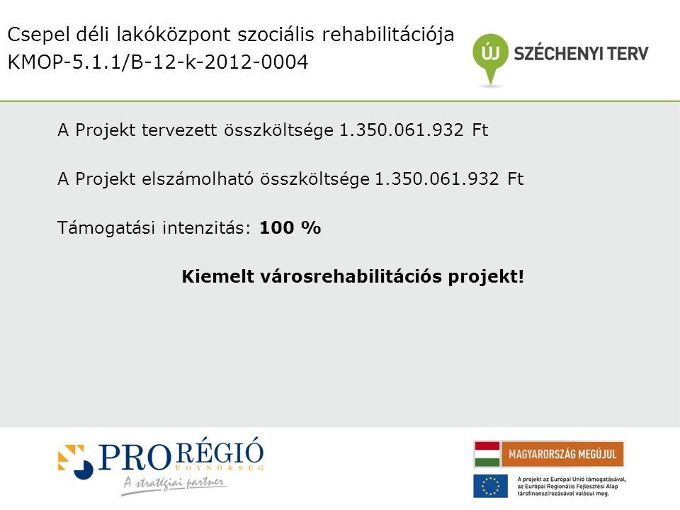 A Projekt tervezett összköltsége 1.350.061.932 Ft A Projekt elszámolható összköltsége 1.350.061.932 Ft Támogatási intenzitás: 100 % Kiemelt városrehabilitációs projekt.