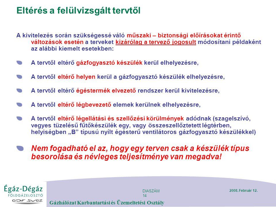 DIASZÁM 14 Gázhálózat Karbantartási és Üzemeltetési Osztály 2008.