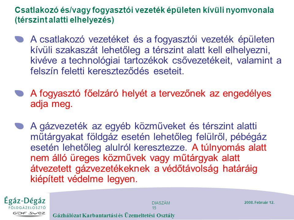 DIASZÁM 15 Gázhálózat Karbantartási és Üzemeltetési Osztály 2008.