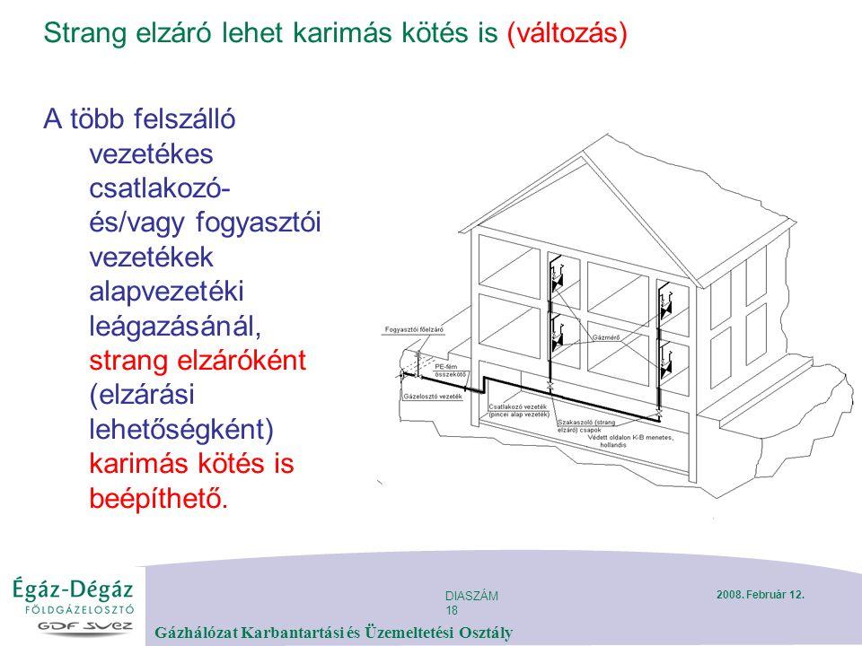 DIASZÁM 18 Gázhálózat Karbantartási és Üzemeltetési Osztály 2008. Február 12. Strang elzáró lehet karimás kötés is (változás) A több felszálló vezeték