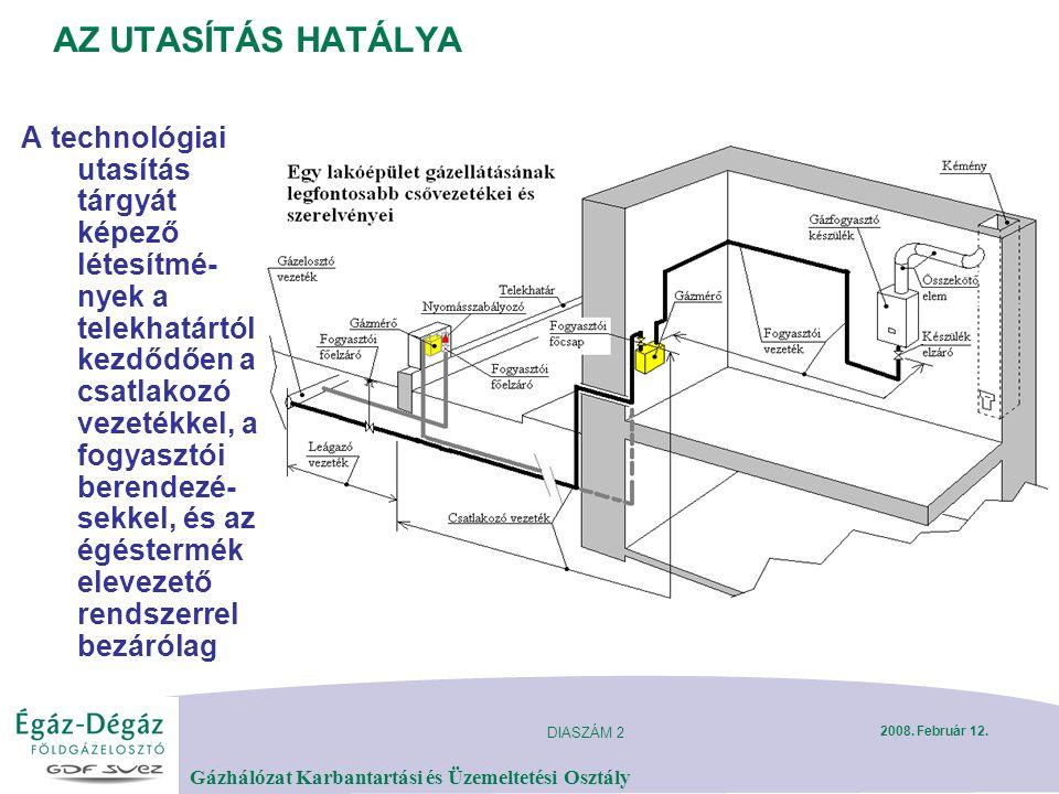 DIASZÁM 2 Gázhálózat Karbantartási és Üzemeltetési Osztály 2008. Február 12. AZ UTASÍTÁS HATÁLYA A technológiai utasítás tárgyát képező létesítmé- nye