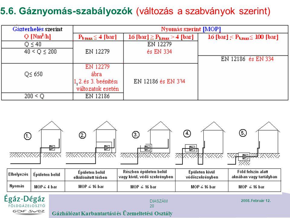 DIASZÁM 20 Gázhálózat Karbantartási és Üzemeltetési Osztály 2008. Február 12. 5.6. Gáznyomás-szabályozók (változás a szabványok szerint)