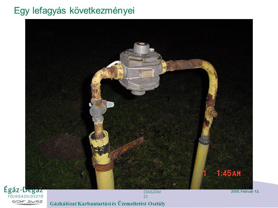 DIASZÁM 23 Gázhálózat Karbantartási és Üzemeltetési Osztály 2008. Február 12. Egy lefagyás következményei