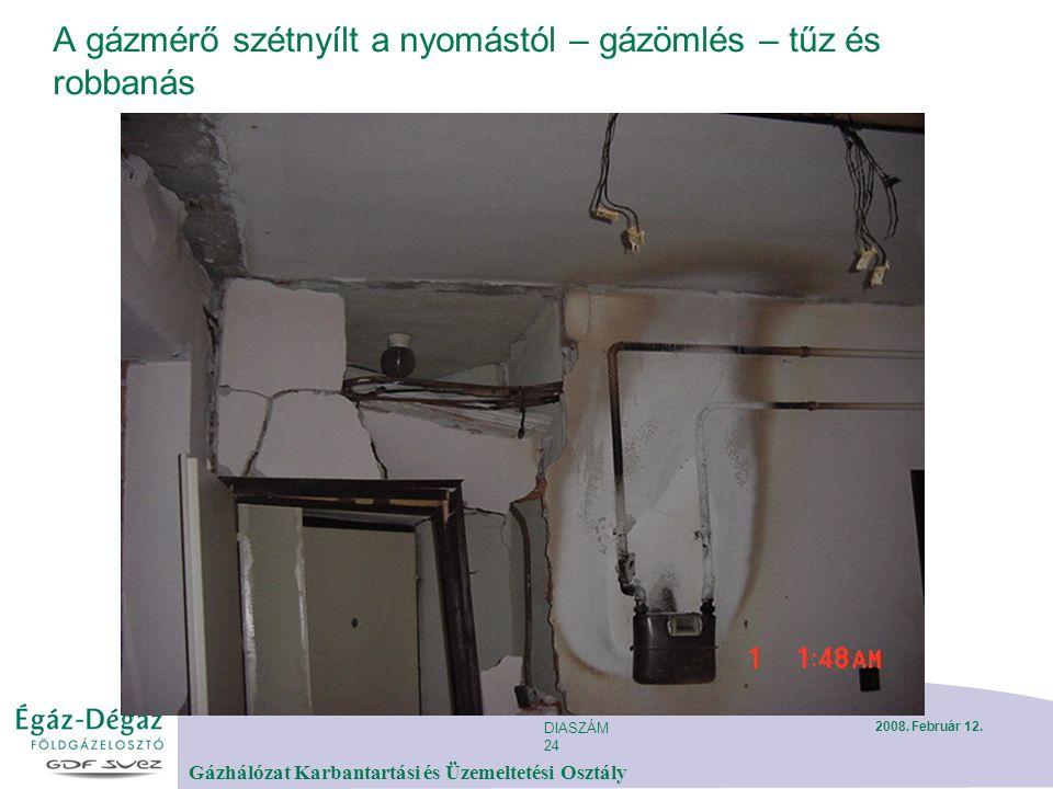 DIASZÁM 24 Gázhálózat Karbantartási és Üzemeltetési Osztály 2008. Február 12. A gázmérő szétnyílt a nyomástól – gázömlés – tűz és robbanás