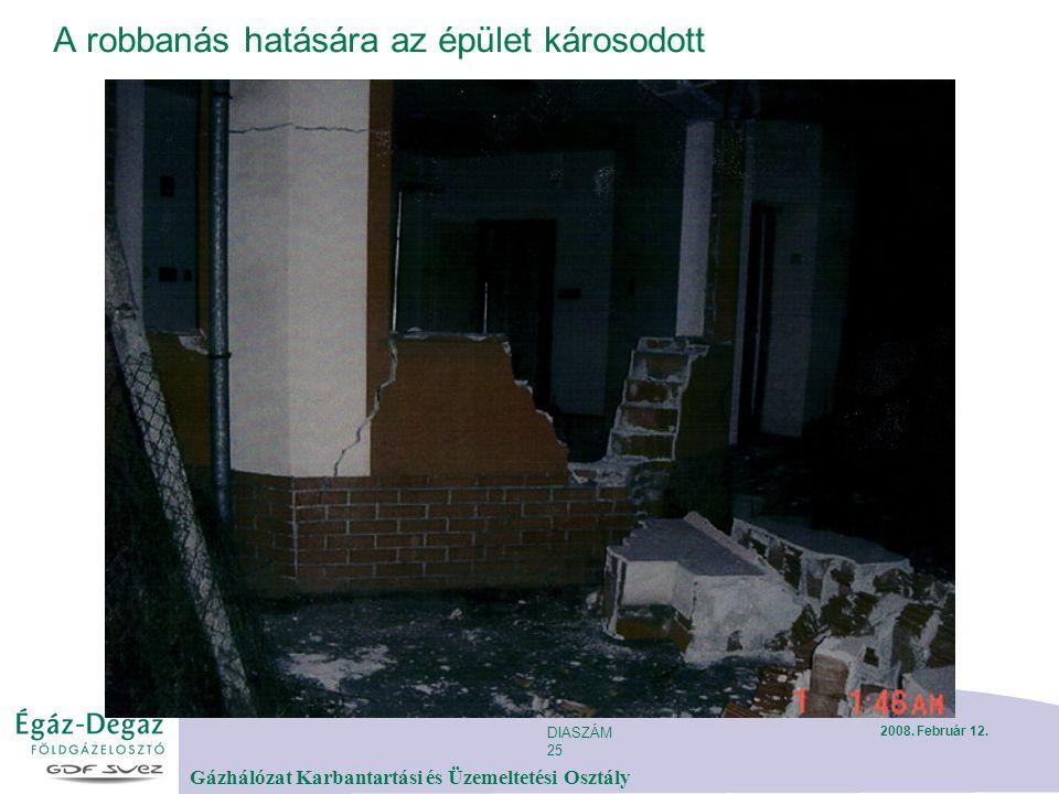 DIASZÁM 25 Gázhálózat Karbantartási és Üzemeltetési Osztály 2008. Február 12. A robbanás hatására az épület károsodott