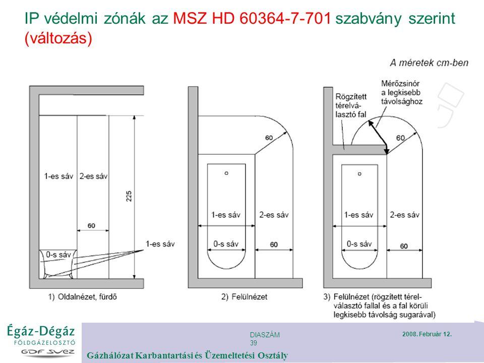 DIASZÁM 39 Gázhálózat Karbantartási és Üzemeltetési Osztály 2008. Február 12. IP védelmi zónák az MSZ HD 60364-7-701 szabvány szerint (változás)