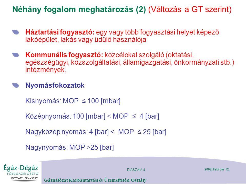 DIASZÁM 4 Gázhálózat Karbantartási és Üzemeltetési Osztály 2008. Február 12. Néhány fogalom meghatározás (2) (Változás a GT szerint) Háztartási fogyas