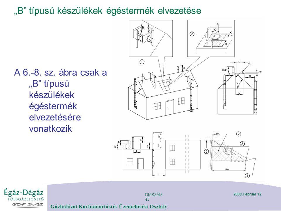 """DIASZÁM 43 Gázhálózat Karbantartási és Üzemeltetési Osztály 2008. Február 12. """"B"""" típusú készülékek égéstermék elvezetése A 6.-8. sz. ábra csak a """"B"""""""
