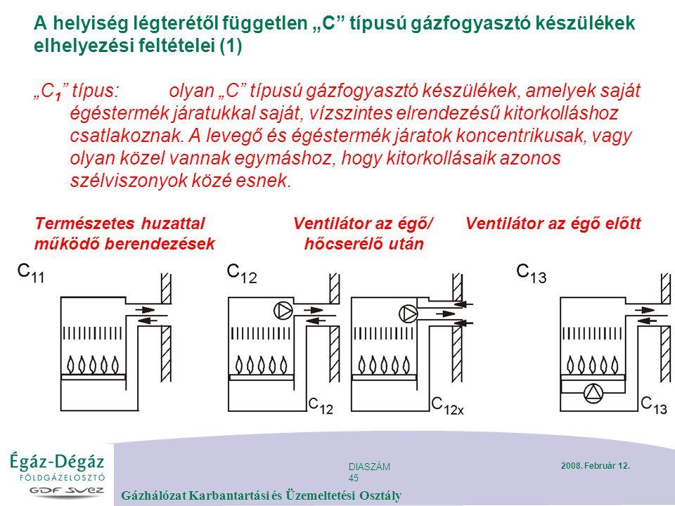 """DIASZÁM 45 Gázhálózat Karbantartási és Üzemeltetési Osztály 2008. Február 12. A helyiség légterétől független """"C"""" típusú gázfogyasztó készülékek elhel"""