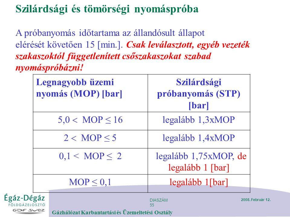 DIASZÁM 55 Gázhálózat Karbantartási és Üzemeltetési Osztály 2008.