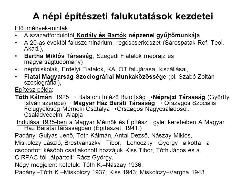 A népi építészeti falukutatások kezdetei Előzmények-minták: A századfordulótól Kodály és Bartók népzenei gyűjtőmunkája A 20-as évektől faluszeminárium, regöscserkészet (Sárospatak Ref.