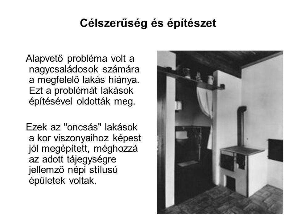 Célszerűség és építészet Alapvető probléma volt a nagycsaládosok számára a megfelelő lakás hiánya.