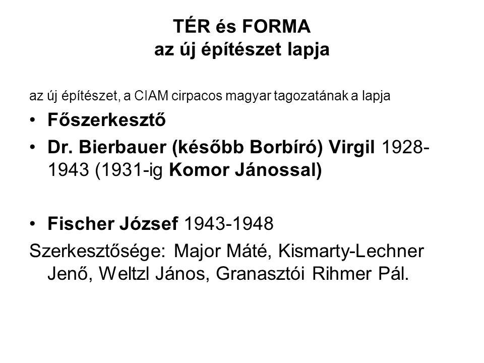 TÉR és FORMA az új építészet lapja az új építészet, a CIAM cirpacos magyar tagozatának a lapja Főszerkesztő Dr.