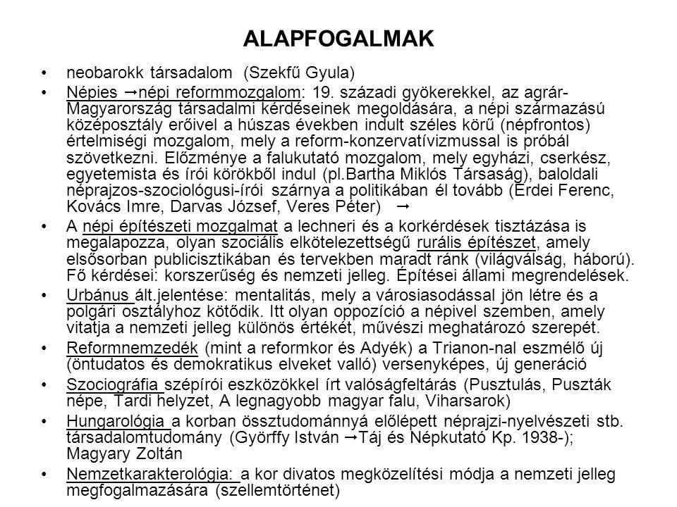 ALAPFOGALMAK neobarokk társadalom (Szekfű Gyula) Népies  népi reformmozgalom: 19.