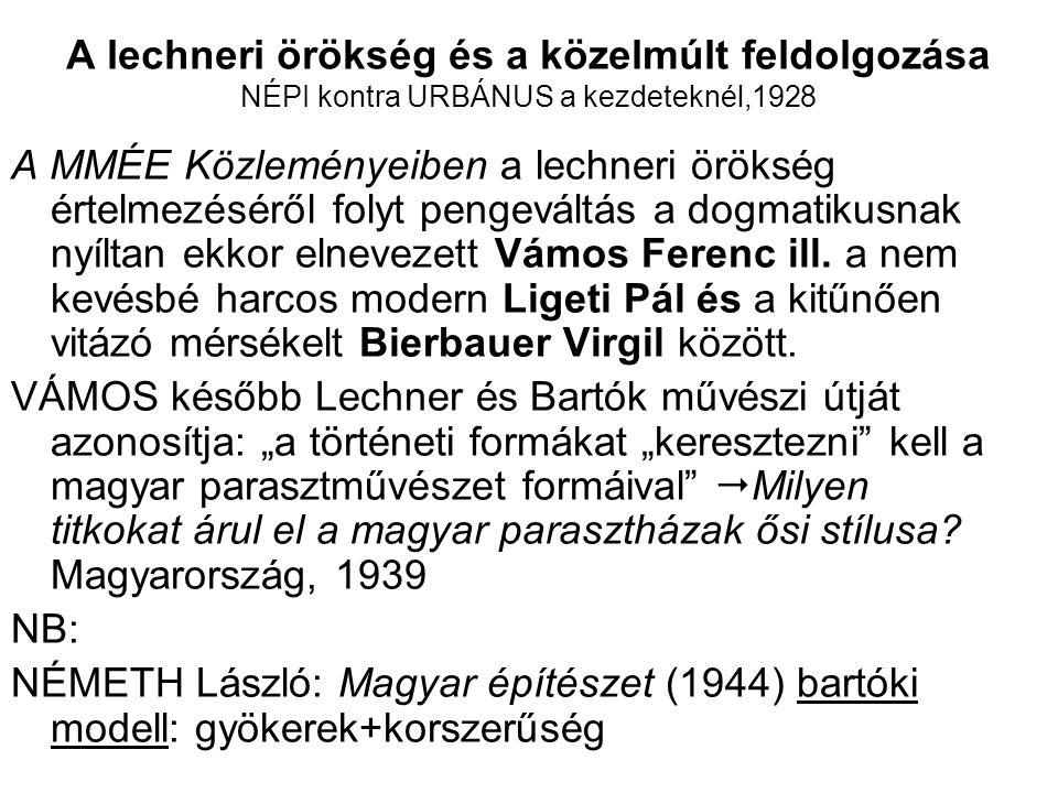A lechneri örökség és a közelmúlt feldolgozása NÉPI kontra URBÁNUS a kezdeteknél,1928 A MMÉE Közleményeiben a lechneri örökség értelmezéséről folyt pengeváltás a dogmatikusnak nyíltan ekkor elnevezett Vámos Ferenc ill.