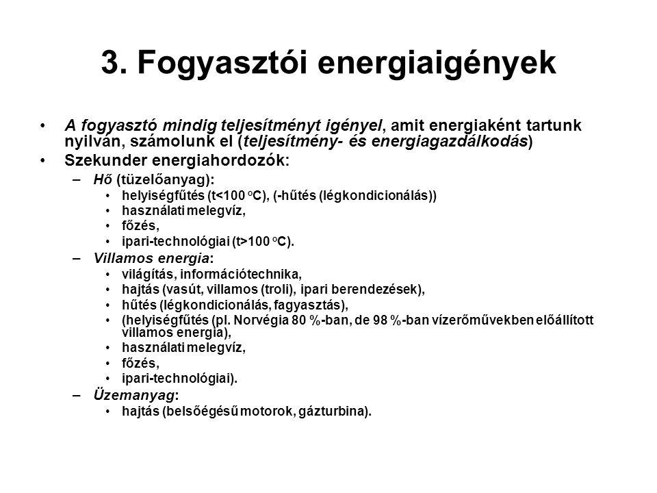 3. Fogyasztói energiaigények A fogyasztó mindig teljesítményt igényel, amit energiaként tartunk nyilván, számolunk el (teljesítmény- és energiagazdálk