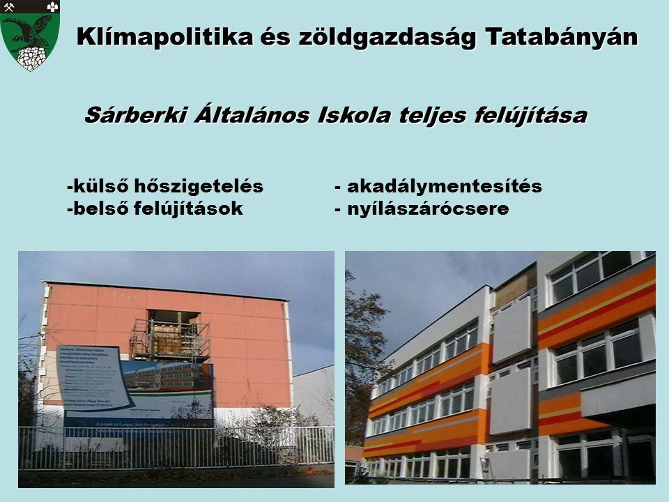 Klímapolitika és zöldgazdaság Tatabányán Sárberki Általános Iskola teljes felújítása -külső hőszigetelés- akadálymentesítés -belső felújítások- nyílás