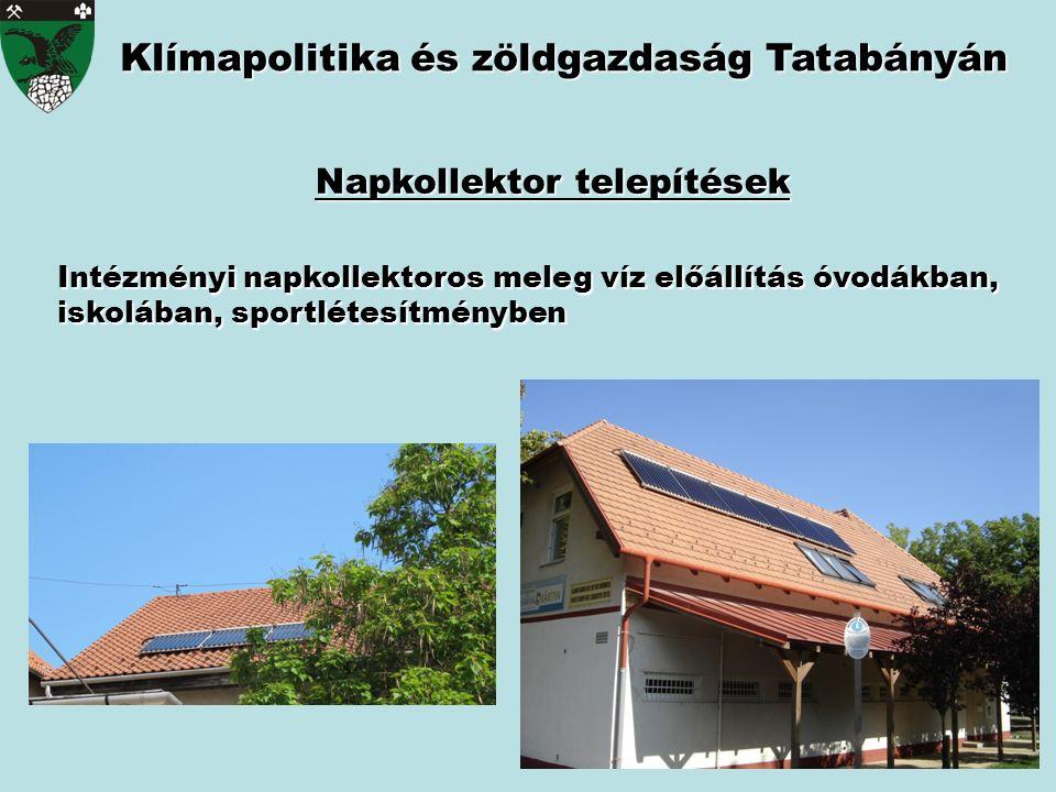 Intézményi napkollektoros meleg víz előállítás óvodákban, iskolában, sportlétesítményben Klímapolitika és zöldgazdaság Tatabányán Napkollektor telepít