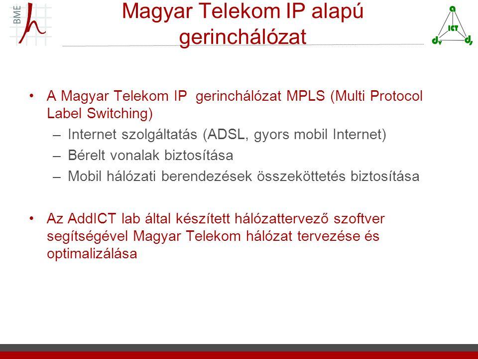 Magyar Telekom IP alapú gerinchálózat A Magyar Telekom IP gerinchálózat MPLS (Multi Protocol Label Switching) –Internet szolgáltatás (ADSL, gyors mobil Internet) –Bérelt vonalak biztosítása –Mobil hálózati berendezések összeköttetés biztosítása Az AddICT lab által készített hálózattervező szoftver segítségével Magyar Telekom hálózat tervezése és optimalizálása