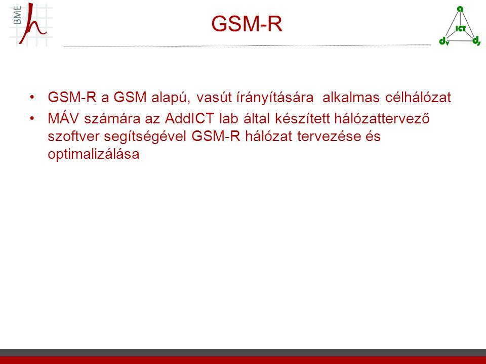 GSM-R GSM-R a GSM alapú, vasút írányítására alkalmas célhálózat MÁV számára az AddICT lab által készített hálózattervező szoftver segítségével GSM-R hálózat tervezése és optimalizálása