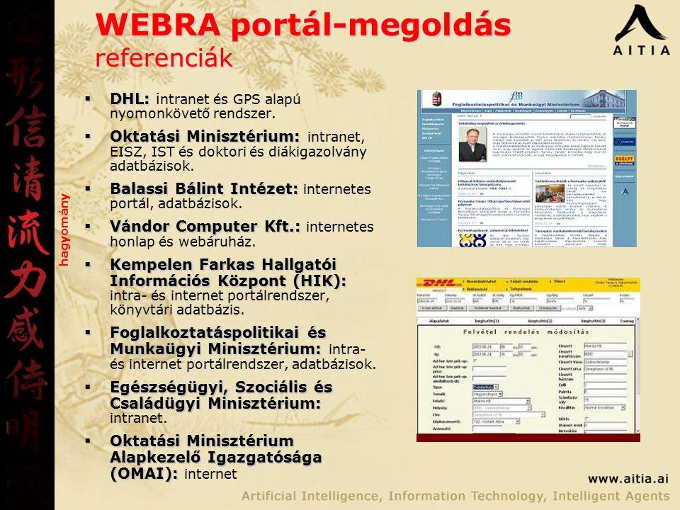 WEBRA portál-megoldás referenciák  DHL:  DHL: i ntranet és GPS alapú nyomonkövető rendszer.