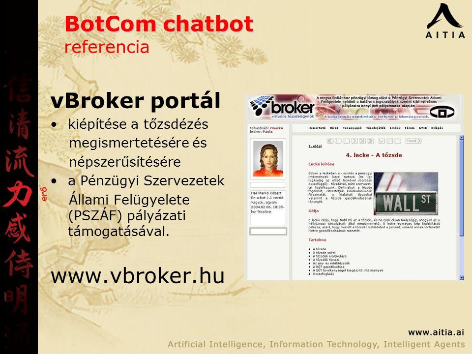 BotCom chatbot BotCom chatbot referencia vBroker portál kiépítése a tőzsdézés megismertetésére és népszerűsítésére a Pénzügyi Szervezetek Állami Felügyelete (PSZÁF) pályázati támogatásával.