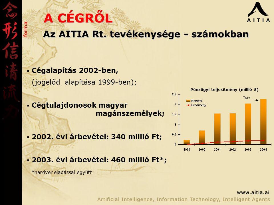 A CÉGRŐL forma Pénzügyi teljesítmény (millió $) Terv Az AITIA Rt.