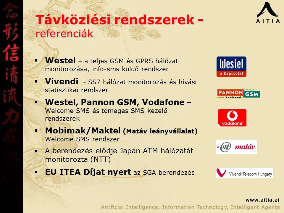 Távközlési rendszerek - referenciák  Westel – a teljes GSM és GPRS hálózat monitorozása, info-sms küldő rendszer  Vivendi - SS7 hálózat monitorozás és hívási statisztikai rendszer  Westel, Pannon GSM, Vodafone – Welcome SMS és tömeges SMS-kezelő rendszerek  Mobimak/Maktel (Matáv leányvállalat) Welcome SMS rendszer  A berendezés elődje Japán ATM hálózatát monitorozta (NTT)  EU ITEA Díjat nyert az SGA berendezés