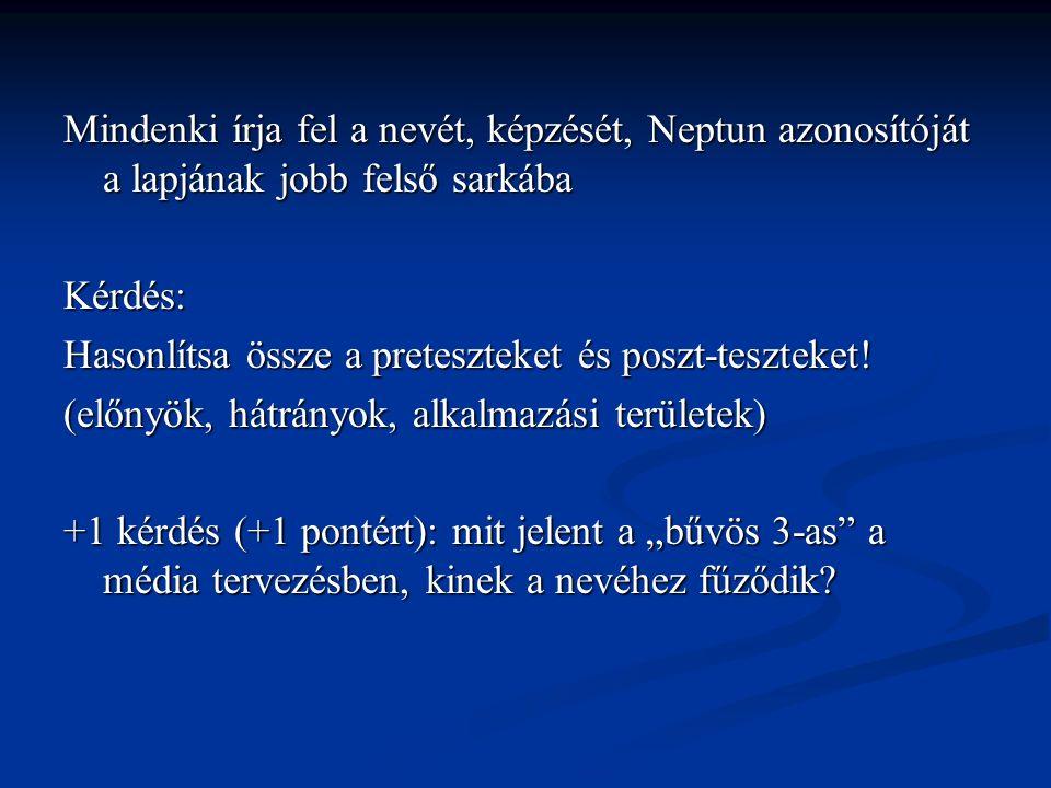 Mindenki írja fel a nevét, képzését, Neptun azonosítóját a lapjának jobb felső sarkába Kérdés: Hasonlítsa össze a preteszteket és poszt-teszteket.