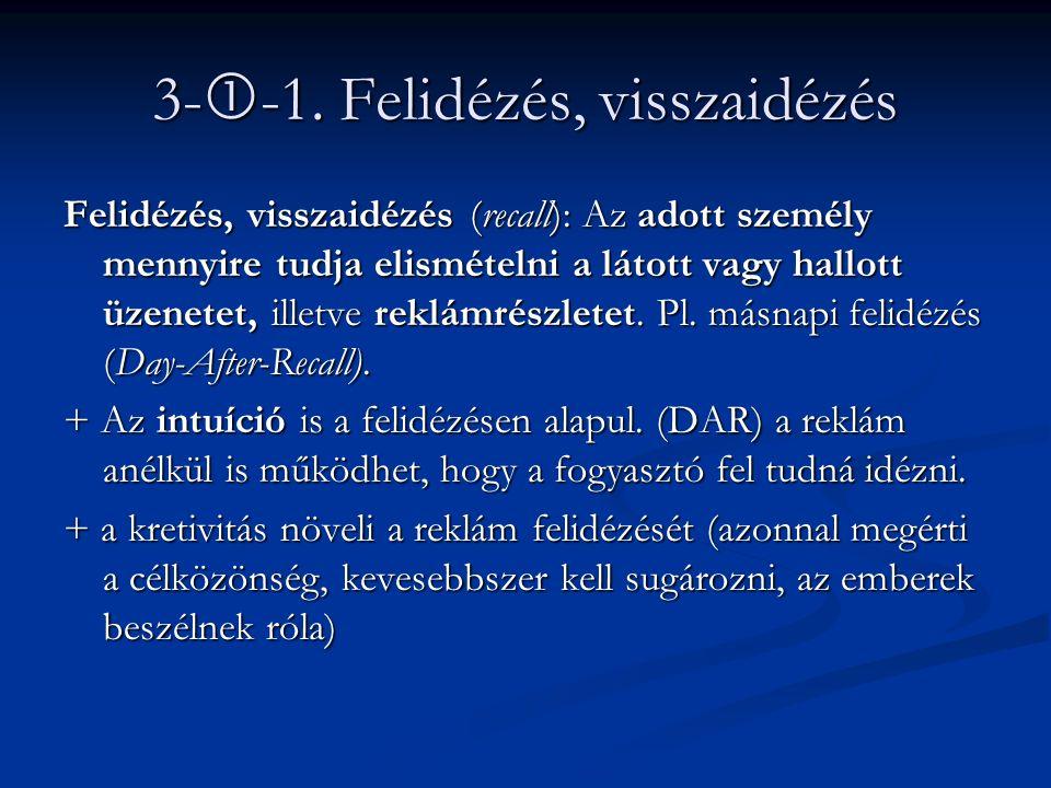 3-  -1. Felidézés, visszaidézés Felidézés, visszaidézés (recall): Az adott személy mennyire tudja elismételni a látott vagy hallott üzenetet, illetve