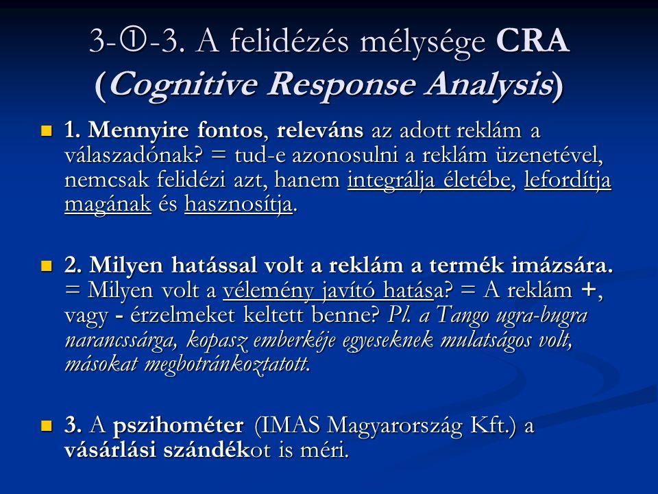 3-  -3. A felidézés mélysége CRA (Cognitive Response Analysis) 1. Mennyire fontos, releváns az adott reklám a válaszadónak? = tud-e azonosulni a rekl