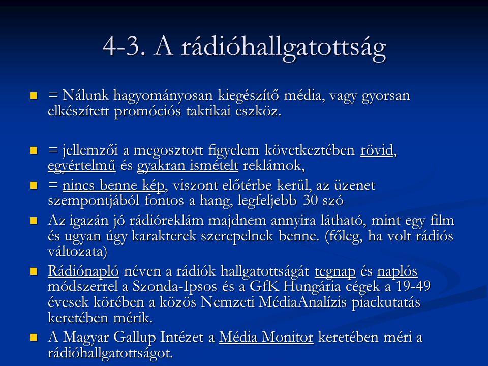 4-3. A rádióhallgatottság = Nálunk hagyományosan kiegészítő média, vagy gyorsan elkészített promóciós taktikai eszköz. = Nálunk hagyományosan kiegészí