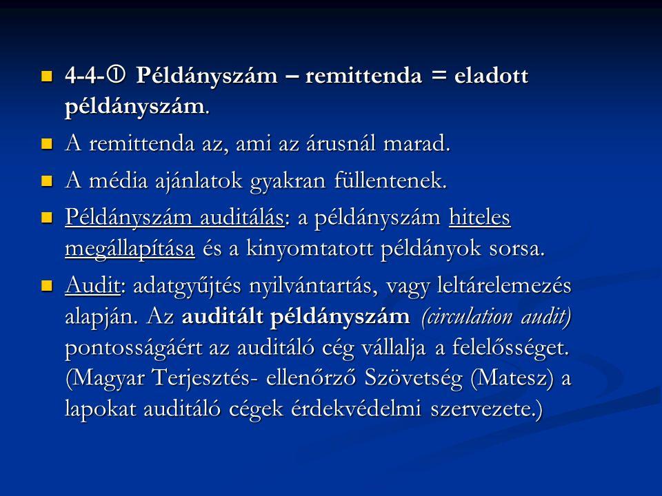 4-4-  Példányszám – remittenda = eladott példányszám. 4-4-  Példányszám – remittenda = eladott példányszám. A remittenda az, ami az árusnál marad. A