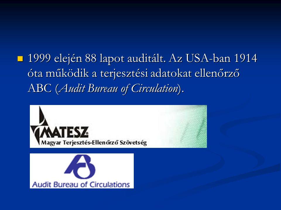 1999 elején 88 lapot auditált. Az USA-ban 1914 óta működik a terjesztési adatokat ellenőrző ABC (Audit Bureau of Circulation). 1999 elején 88 lapot au