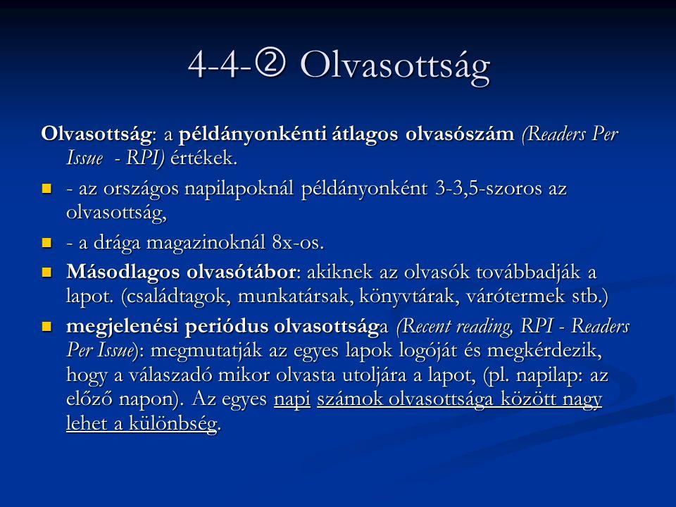 4-4-  Olvasottság Olvasottság: a példányonkénti átlagos olvasószám (Readers Per Issue - RPI) értékek. - az országos napilapoknál példányonként 3-3,5-