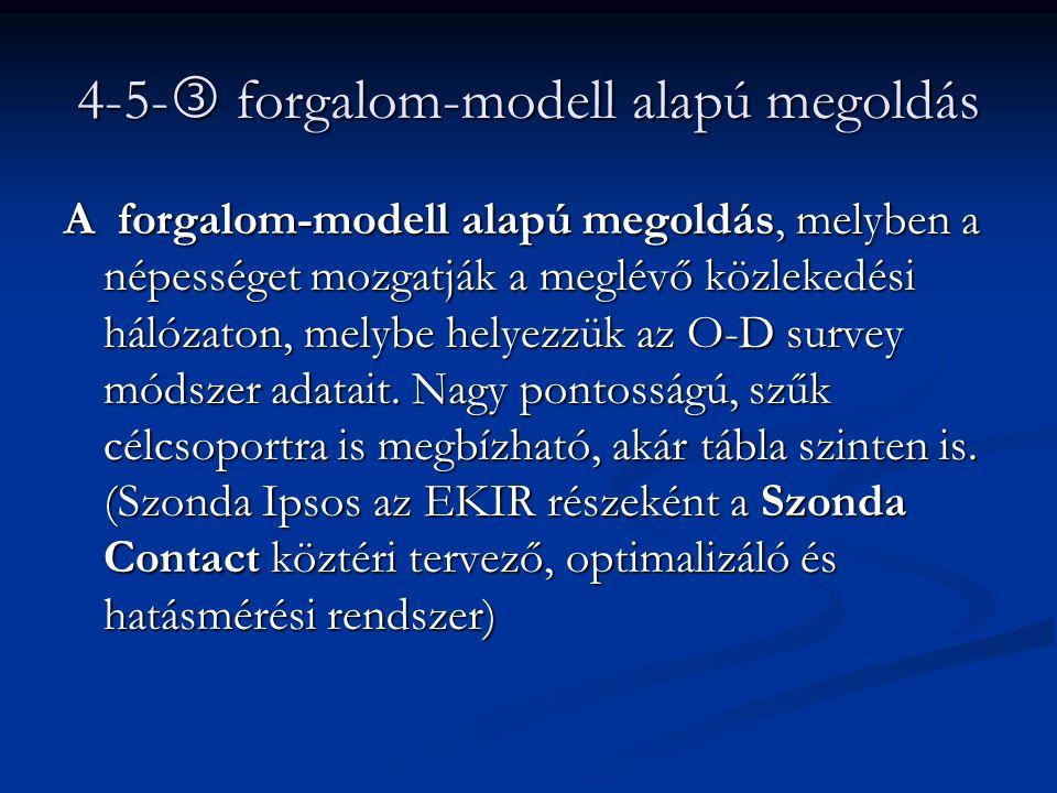 4-5-  forgalom-modell alapú megoldás A forgalom-modell alapú megoldás, melyben a népességet mozgatják a meglévő közlekedési hálózaton, melybe helyezz