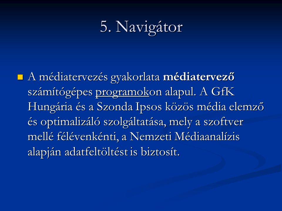 5. Navigátor A médiatervezés gyakorlata médiatervező számítógépes programokon alapul. A GfK Hungária és a Szonda Ipsos közös média elemző és optimaliz