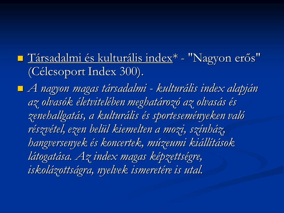 Társadalmi és kulturális index* - Nagyon erős (Célcsoport Index 300).