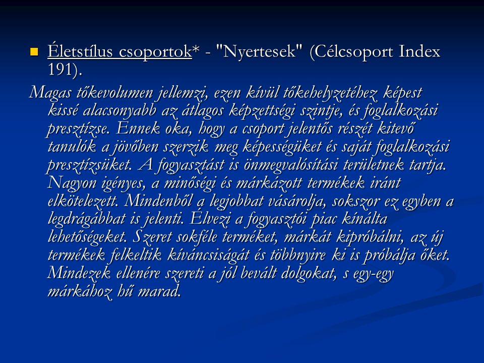 Életstílus csoportok* - Nyertesek (Célcsoport Index 191).